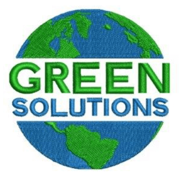Green solution logo with green and blue lettering and the planet earth in the background